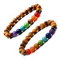 Natürliche Tiger Eye Armband, Tigerauge, mit Naturstein, plattiert, unisex & verschiedene Stile für Wahl, verkauft per 7.2 ZollInch Strang