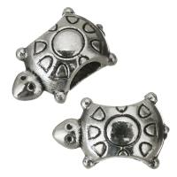 Zinklegierung Großes Loch Perlen, Schildkröter, Emaille, Silberfarbe, frei von Nickel, Blei & Kadmium, 14x9x8mm, Bohrung:ca. 5mm, 50PCs/Menge, verkauft von Menge