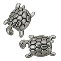 Zinklegierung Großes Loch Perlen, Schildkröter, Silberfarbe, frei von Nickel, Blei & Kadmium, 16x10.50x8.50mm, Bohrung:ca. 4.5mm, 50PCs/Menge, verkauft von Menge