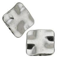 Zink Legierung Perlen Schmuck, Zinklegierung, Silberfarbe, frei von Nickel, Blei & Kadmium, 15x15x3mm, Bohrung:ca. 1mm, 50PCs/Menge, verkauft von Menge