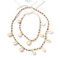 Seedbead Halskette, mit Muschel, Zinklegierung Karabinerverschluss, goldfarben plattiert, für Frau, farbenfroh, Länge:ca. 20 ZollInch, verkauft von setzen