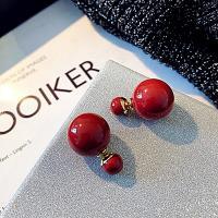 Zinklegierung Doppelseitigen Ohrstecker, mit Kunststoff Perlen, Edelstahl Stecker, plattiert, für Frau, keine, frei von Nickel, Blei & Kadmium, 25*15mm, verkauft von Paar