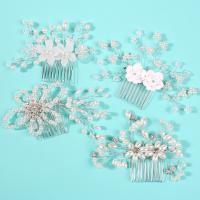 Dekoratives Haarkämmchen, Zinklegierung, mit Harz & Kunststoff Perlen, für Frau & mit Strass, weiß, frei von Nickel, Blei & Kadmium, verkauft von Paar