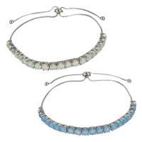 Messing Armband, mit Opal, silberfarben plattiert, einstellbar & Kastenkette & verschiedene Stile für Wahl, frei von Nickel, Blei & Kadmium, 5mm,1mm, verkauft per ca. 8-12 ZollInch Strang