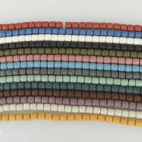 Natürliche Lava Perlen, Zylinder, keine, 8x8mm, Bohrung:ca. 2mm, ca. 47PCs/Strang, 5SträngeStrang/Menge, verkauft per ca. 15.5 ZollInch Strang