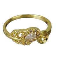 Messing Ringfassung, goldfarben plattiert, Micro pave Zirkonia, frei von Nickel, Blei & Kadmium, 11.5mm,4mm,0.8mm, Bohrung:ca. 2mm, Größe:7, 10PCs/Menge, verkauft von Menge