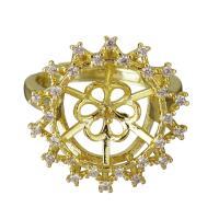 Messing Ringfassung, goldfarben plattiert, Micro pave Zirkonia, frei von Nickel, Blei & Kadmium, 18.5mm,10.5mm,0.75mm, Bohrung:ca. 2mm, Größe:6, 10PCs/Menge, verkauft von Menge