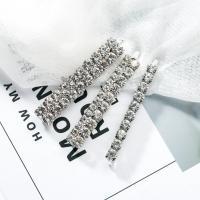 Haarschieber, Zinklegierung, mit Acryl Strass, für Frau, Silberfarbe, frei von Nickel, Blei & Kadmium, 66x13mm, verkauft von setzen