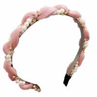 Haarreif, Eisen, mit Nylon & Kunststoff Perlen, plattiert, für Frau & mit Strass, keine, frei von Nickel, Blei & Kadmium, 130mm, verkauft von PC