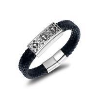 Titanstahl Armband, mit PU Leder, Schädel, Punk-Stil & für den Menschen, 16.2mmx12.8mm, verkauft von PC