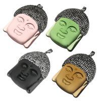 Glas Anhänger, mit Ton & Messing, Buddha, schwärzen, keine, 39x53x15mm, Bohrung:ca. 5x7mm, verkauft von PC