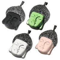 Glas Anhänger, mit Ton & Messing, Buddha, schwärzen, keine, 30x41x17mm, Bohrung:ca. 5x7mm, verkauft von PC