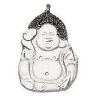 Ton Anhänger, mit Glas & Messing, Buddha, silberfarben plattiert, 43x62x15mm, Bohrung:ca. 5x6mm, verkauft von PC