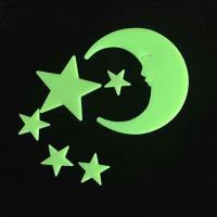 Kunststoff Leuchtende Aufkleber, Mond und Sterne, Klebstoff & glänzend, keine, 30-50mm, verkauft von setzen