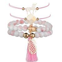 Nylon Armband-Set, mit Edelstein & Zinklegierung, plattiert, für Frau, verkauft von setzen