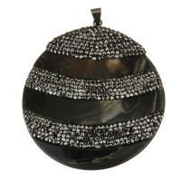 Ton Anhänger, mit Schwarze Muschel, antike Kupferfarbe plattiert, 60x65x8mm, Bohrung:ca. 4x7mm, verkauft von PC