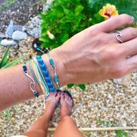 Zinklegierung Armband-Set, mit Nylonschnur, plattiert, für Frau, blau, frei von Nickel, Blei & Kadmium, verkauft von setzen