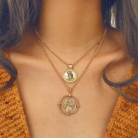 Mode-Multi-Layer-Halskette, Zinklegierung, plattiert, mehrschichtig & für Frau, goldfarben, frei von Nickel, Blei & Kadmium, verkauft von Paar