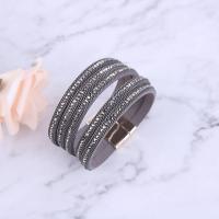 Baumwollsamt Armband, mit Zinklegierung, plattiert, für Frau & mit Strass, keine, 220x7mm, verkauft von Strang