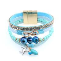 Leder Armband, mit Strass & Zinklegierung, plattiert, unisex, keine, 20.5cm, verkauft per ca. 8.07 ZollInch Strang