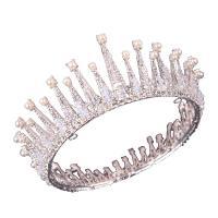 Krone, Zinklegierung, mit Kristall & Kunststoff Perlen, plattiert, Hochzeitsgeschenk & für Frau, keine, frei von Nickel, Blei & Kadmium, 140x60mm, verkauft von PC