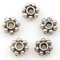 Spacer Perlen Schmuck, Zinklegierung, Blume, antik silberfarben plattiert, 4x4x2mm, Bohrung:ca. 2mm, 2Taschen/Menge, ca. 10000PCs/Tasche, verkauft von Menge