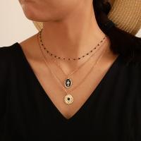 Mode-Multi-Layer-Halskette, Zinklegierung, plattiert, mehrschichtig & für Frau & Emaille, goldfarben, frei von Nickel, Blei & Kadmium, verkauft von setzen