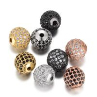 Befestigte Zirkonia Perlen, Messing, rund, plattiert, Micro pave Zirkonia, keine, 9.8x10mm, Bohrung:ca. 2mm, 3PCs/Menge, verkauft von Menge