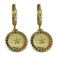 Messing Huggie Hoop Ohrhänger, flache Runde, vergoldet, Micro pave Zirkonia & für Frau, frei von Nickel, Blei & Kadmium, 12x14mm,27.5mm, verkauft von Paar