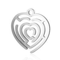 Edelstahl -Herz-Anhänger, Platinfarbe platiniert, hohl, 17x18mm, Bohrung:ca. 2mm, 10PCs/Menge, verkauft von Menge