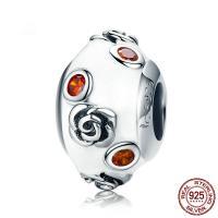 925 Sterling Silber Perlen, 925er Sterling Silber, mit Lampwork, versilbert, 8x13mm, verkauft von PC