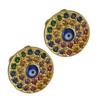 Messing Ohrstecker, vergoldet, böser Blick- Muster & Micro pave Zirkonia & für Frau, frei von Nickel, Blei & Kadmium, 10x10mm, verkauft von Paar