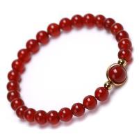 Roter Achat Armbänder, mit Edelstein, Twist, verschiedenen Materialien für die Wahl & unisex, 6mm, 8mm, Länge:ca. 6.8 ZollInch, 5SträngeStrang/Menge, verkauft von Menge