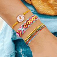 Nylonschnur Armband-Set, mit Zinklegierung, Blume, plattiert, für Frau, keine, frei von Nickel, Blei & Kadmium, 320mm,300mm,270mm, 3PC/setzen, verkauft von setzen