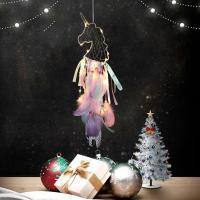 Fashion Dreamcatcher, Eisen, mit Feder, handgemacht, farbenfroh, frei von Nickel, Blei & Kadmium, 200x650mm, verkauft von PC