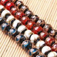 Goldsand Lampwork Perlen, rund, handgemacht, verschiedene Größen vorhanden, keine, Bohrung:ca. 1mm, 10PCs/Menge, verkauft von Menge