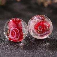 Goldsand Lampwork Perlen, rund, handgemacht, verschiedene Größen vorhanden & innen Blume, keine, Bohrung:ca. 1mm, 50PCs/Tasche, verkauft von Tasche