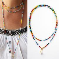Glasperlen Pullover Halskette, mit Muschel & Zinklegierung, plattiert, für Frau, farbenfroh, 75cm, verkauft per ca. 29.5 ZollInch Strang