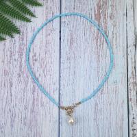 Glasperlen Halsketten, mit Kunststoff Perlen & Messing, plattiert, für Frau, keine, 40cm, verkauft per ca. 15.7 ZollInch Strang
