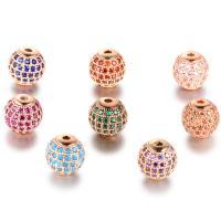 Befestigte Zirkonia Perlen, Messing, rund, plattiert, Micro pave Zirkonia, keine, frei von Nickel, Blei & Kadmium, 10mm, Bohrung:ca. 1mm, 2PCs/Menge, verkauft von Menge
