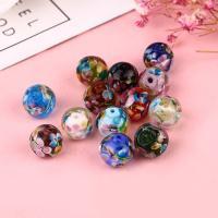 Inneren Blume-Lampwork-Beads, Lampwork, rund, verschiedene Größen vorhanden & innen Blume, keine, Bohrung:ca. 1mm, 50PCs/Tasche, verkauft von Tasche