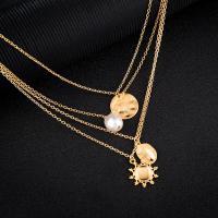 Mode-Multi-Layer-Halskette, Zinklegierung, mit Kunststoff Perlen, plattiert, mehrschichtig & für Frau, goldfarben, frei von Nickel, Blei & Kadmium, verkauft von Strang