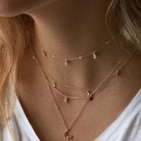 Mode-Multi-Layer-Halskette, Zinklegierung, plattiert, für Frau, goldfarben, frei von Nickel, Blei & Kadmium, verkauft von Strang