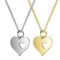 Edelstahl Schmuck Halskette, Herz, Oval-Kette & für Frau, keine, 13x16mm, Länge:ca. 15.75 ZollInch, 5SträngeStrang/Menge, verkauft von Menge