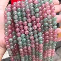 Strawberry Quartz Perle, rund, poliert, zweifarbig, 8mm, Bohrung:ca. 1mm, ca. 48PCs/Strang, verkauft von Strang