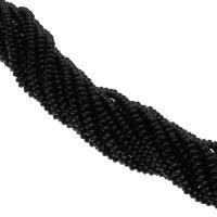 Natürliche schwarze Achat Perlen, Schwarzer Achat, plattiert, DIY, schwarz, 6x6x3mm, Bohrung:ca. 1mm, 120PCs/Strang, verkauft von Strang