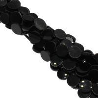 Natürliche schwarze Achat Perlen, Schwarzer Achat, flache Runde, plattiert, DIY, schwarz, 18x18x4mm, Bohrung:ca. 1mm, 22PCs/Strang, verkauft von Strang