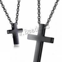 Titanstahl Halskette, Kreuz, plattiert, verschiedene Größen vorhanden & Rolo Kette & für paar, keine, verkauft von Strang