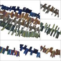 Natürliche Eis Quarz Achat Perlen, Eisquarz Achat, plattiert, keine, 10x65x13mm/10x40x9mm, Bohrung:ca. 2mm, ca. 47PCs/Strang, verkauft von Strang