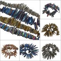 Natürliche Eis Quarz Achat Perlen, Eisquarz Achat, plattiert, keine, 75x11x10mm/32x12x9mm, Bohrung:ca. 2mm, ca. 46PCs/Strang, verkauft von Strang